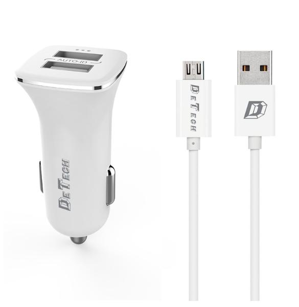 Зарядно устройство за кола DeTech, DE-C01M, 5V/2.4A, 12/24V, С Micro USB кабел, 2 x USB, Бял - 14124