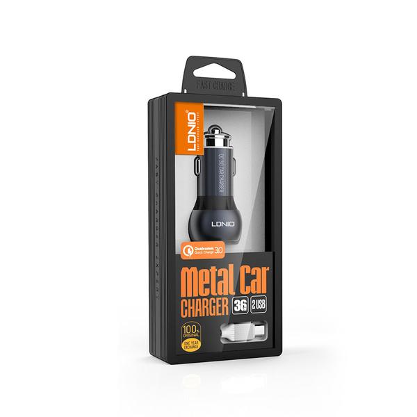 Зарядно устройство за кола, LDNIO C503Q, Quick Charge 3.0, 2xUSB, С Micro USB кабел, Сив - 14747