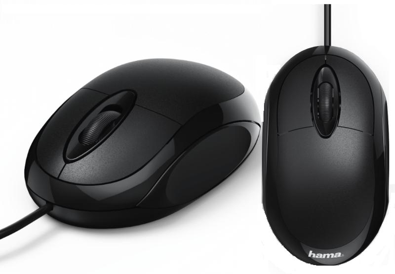 Оптична мишка HAMA MC-100, КАБЕЛ 1.3 М, USB, 1000 DPI, 3 БУТОНА, ЧЕРЕН